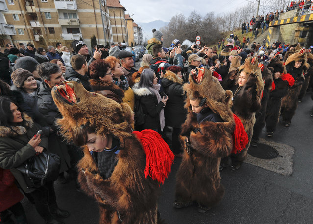 In this Saturday, December 30, 2017 picture people watch an annual bear parade in Comanesti, Romania. Hundreds of people descend on the sleepy northern Romanian city of Comanesti every year dressed head to toe like bears, in costumes made from real fur, with the heads attached. (Photo by Vadim Ghirda/AP Photo)