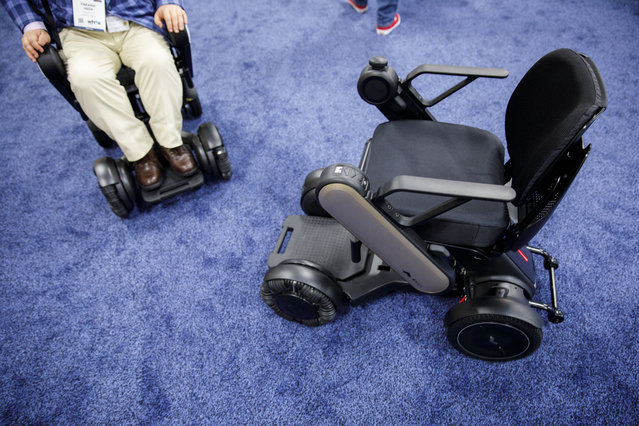 Whill Inc. Model Ci ultra-portable intelligent personal electric vehicles (PEV) are demonstrated during the CES Unveiled event at the 2018 Consumer Electronics Show (CES) in Las Vegas, Nevada, U.S., on Sunday, January 7, 2018. (Photo by Patrick T. Fallon/Bloomberg)