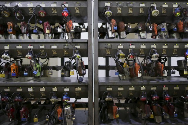 Self-rescue equipment and head lamps are placed in a room near the entrance of a coal mine of the state-owned Longmay Group on the outskirts of Jixi, in Heilongjiang province, China, October 24, 2015. (Photo by Jason Lee/Reuters)
