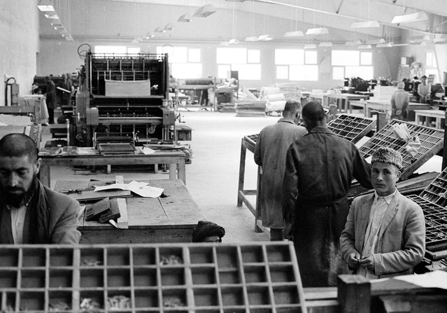 Scene inside the modern new government printing plant in Kabul on June 9, 1966, which houses Kabul Times. (Photo by AP Photo via The Atlantic)