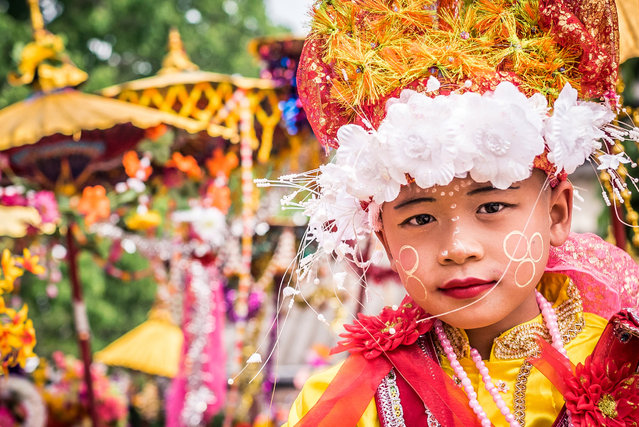Novice initiates dress in the lavish style of a prince to emulate Buddha, who was a prince before he gave up all worldly pleasures when he founded Buddhism in Mae Hong Son, Thailand, April 2016. (Photo by Claudio Sieber/Barcroft Images)