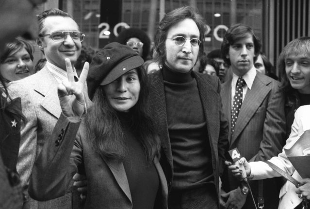 In this April 18, 1972 file photo, John Lennon and his wife, Yoko Ono, leave a U.S. Immigration hearing in New York City. Mark David Chapman, who shot and killed Lennon on Dec. 8, 1980, was denied parole for a tenth time by New York's Parole Board on Thursday, August 23, 2018. He will be up for parole again in August 2020. (Photo by AP Photo)