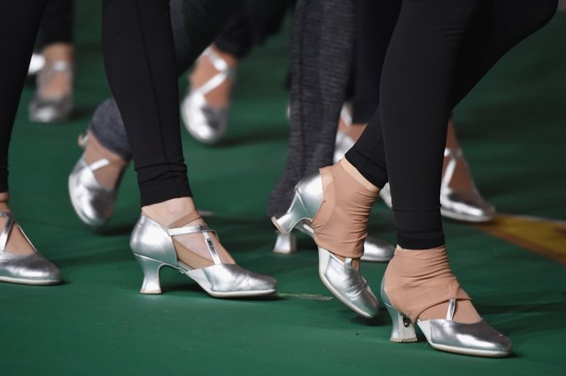 The Rockettes perform at the 89th annual Macy's Thanksgiving Day Parade rehearsals on November 24, 2015 in New York City. (Photo by Mike Coppola/Getty Images)