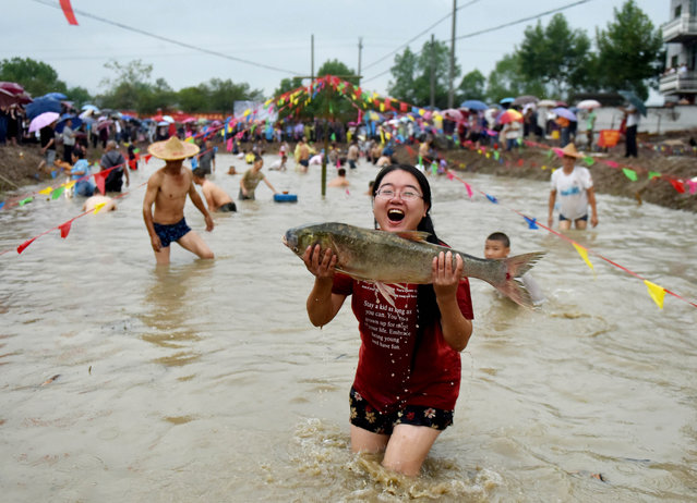 A girl shows a fish she has caught in a bare- hand fish catching contest held in Housangyuan Village of Lyutan Township Wuyi County, east China' s Zhejiang Province, September 23, 2018. People across China hold various activities to celebrate the country' s first Farmers' Harvest Festival, which falls on Sept. 23 this year. (Photo by Zhang Jiancheng/Xinhua News Agency/Barcroft Images)