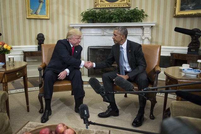 President Barack Obama shakes hands with President-elect Donald Trump in the Oval Office of the White House in Washington, Thursday, November 10, 2016. (Photo by Jabin Botsford/The Washington Post)