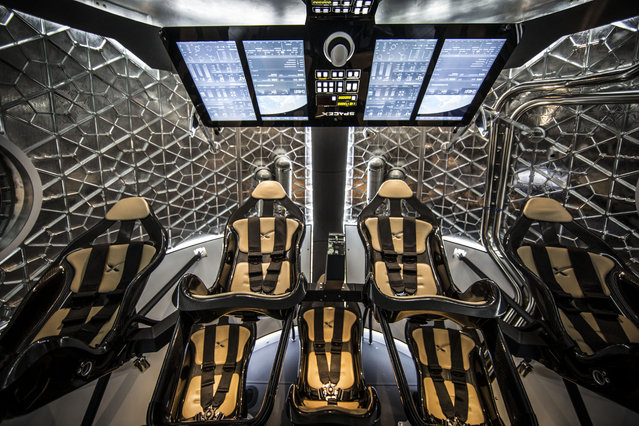 The interior of the Crew Dragon spacecraft, May 28, 2014. (Photo by SpaceX Photos)