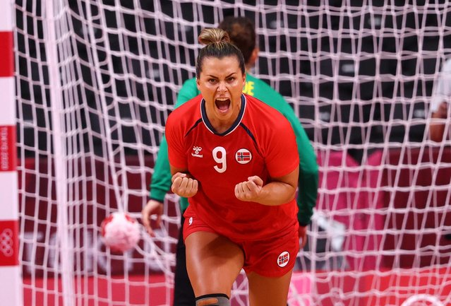 Nora Mork of Norway celebrates scoring a goal during the women's bronze medal handball match between Norway and Sweden of the Tokyo 2020 Olympic Games at the Yoyogi National Stadium in Tokyo on August 8, 2021. (Photo by Susana Vera/Reuters)
