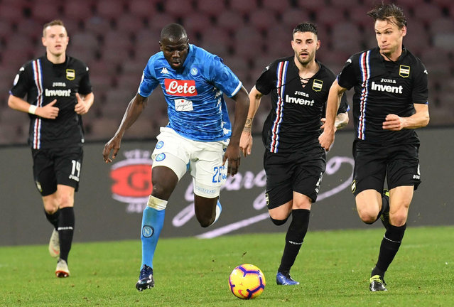Napoli's Kalidou Koulibaly runs with the ball during the Serie A soccer match between Napoli and Sampdoria at the San Paolo stadium in Naples, Italy, Saturday, February 2, 2019. (Photo by Ciro Fusco/ANSA via AP Photo)