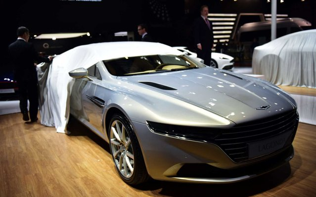 An Aston Martin limited series Lagonda luxury car model is unveiled at the 16th Shanghai International Automobile Industry Exhibition in Shanghai on April 20, 2015. (Photo by Johannes Eisele/Getty Images)