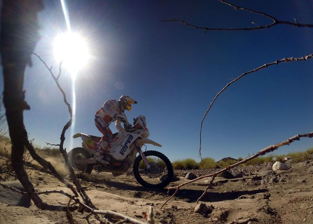 Kuba Przygonski of Poland powers his KTM powers his KTM during the 2014 Dakar Rally Stage 2 between San Luis and San Rafael, Argentina, on January 6, 2014. (Photo by Franck Fife/AFP Photo)