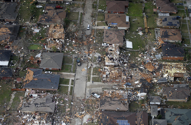 Destroyed and damaged homes are seen in this aerial photo after a tornado tore through the eastern neighborhood in New Orleans, Tuesday, February 7, 2017. Gov. John Bel Edwards has declared a state of emergency for Louisiana after a severe storm moved across the state's southeast corner, including the parishes of Ascension, Livingston, Orleans, St. James, St. Tammany and Tangipahoa. (Photo by Gerald Herbert/AP Photo)