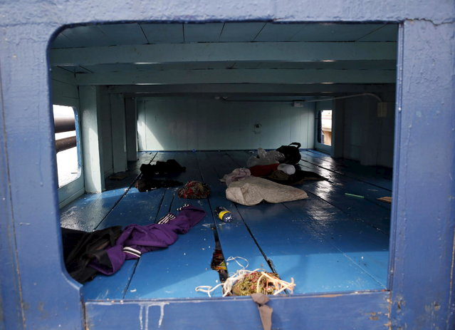 Living quarters on a boat that carried Rohingya migrants for three months is seen at Langkawi island, in the Malaysia's northern state of Kedah May 12, 2015. (Photo by Olivia Harris/Reuters)