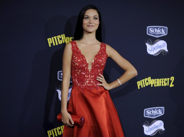 "Cast member Alexis Knapp poses at the premiere of ""Pitch Perfect 2"" in Los Angeles, California, United States May 8, 2015. (Photo by Kevork Djansezian/Reuters)"