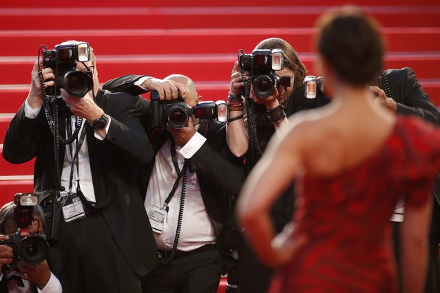 "Photographers work as actress Noomi Rapace poses on the red carpet for the screening of the film ""The Sea of Trees"" in competition at the 68th Cannes Film Festival in Cannes, southern France, May 16, 2015. (Photo by Benoit Tessier/Reuters)"