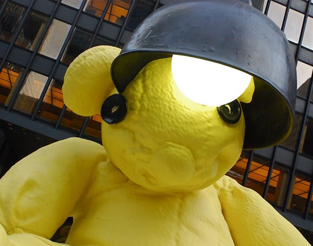 Giant Yellow Teddy Bear Sculpture By Urs Fischer