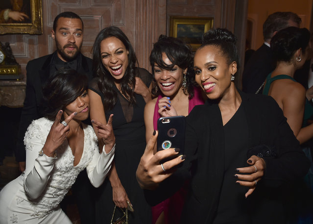 From left, Jesse Williams, Regina King, Rosario Dawson and Kerry Washington attend the Bloomberg & Vanity Fair cocktail reception at the residence of the French ambassador, on April 30, 2016 in Washington, DC. (Photo by Dimitrios Kambouris/VF16/WireImage/Getty Images)