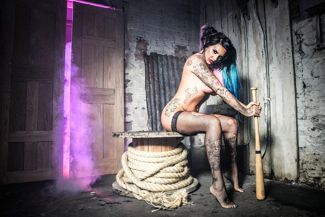 """The bisexual glamour model, UK """"Ex On The Beach"""" star Jemma Lucy poses naked and flashes extensive tattoos in X-rated shoot as Margot Robbie's """"Suicide Squad"""" character Harley Quinn. (Photo by Xposure Photos)"""
