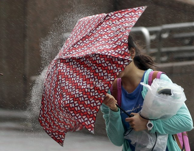 A woman holds her umbrella while walking against strong winds as Typhoon Chan-hom approaches Taiwan, in Taipei, July 10, 2015. (Photo by Pichi Chuang/Reuters)