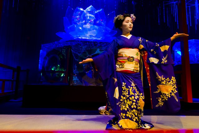 A Maiko, an apprentice geisha, performs a traditional dance in front of a tank with goldfish at the Art Aquarium exhibition in Tokyo July 27, 2015. Several thousand goldfish are displayed in dozens of uniquely shaped tanks, using LED lights, projection mapping and music in a show that was produced by Japanese designer Hidetomo Kimura. (Photo by Thomas Peter/Reuters)