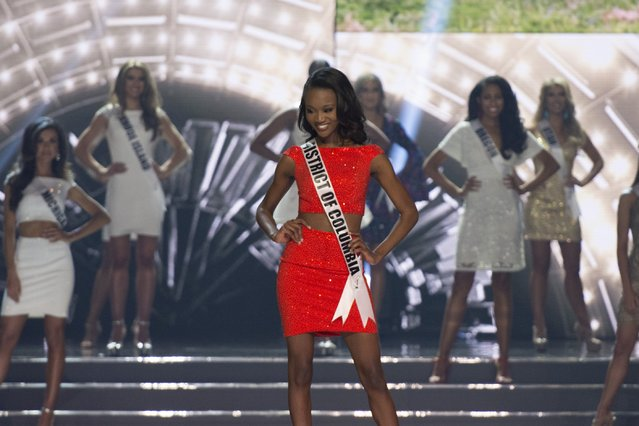 Miss District of Columbia Deshauna Barber smiles during the 2016 Miss USA pageant in Las Vegas, Sunday, June 5, 2016. (Photo by Jason Ogulnik/Las Vegas Review-Journal via AP Photo)
