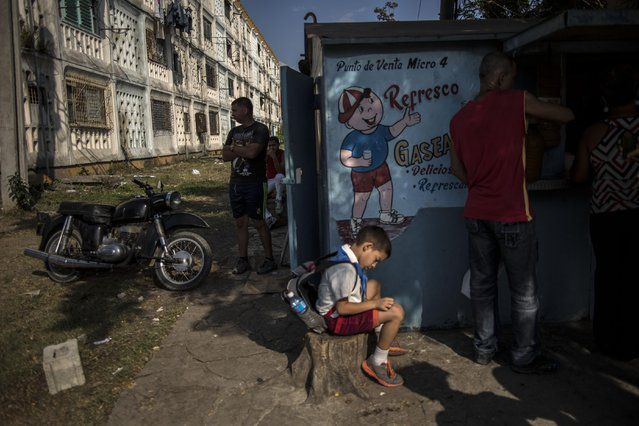 In this March 20, 2015 photo, a youth wearing his school uniform waits for his father to buy him a soda at a drink stand after classes in Santiago, Cuba. (Photo by Ramon Espinosa/AP Photo)