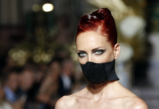 A model walks the runway during the Eymeric Francois Haute Couture Fall/Winter 2017-2018 show as part of Haute Couture Paris Fashion Week on July 6, 2017 in Paris, France. (Photo by Thierry Chesnot/Getty Images)