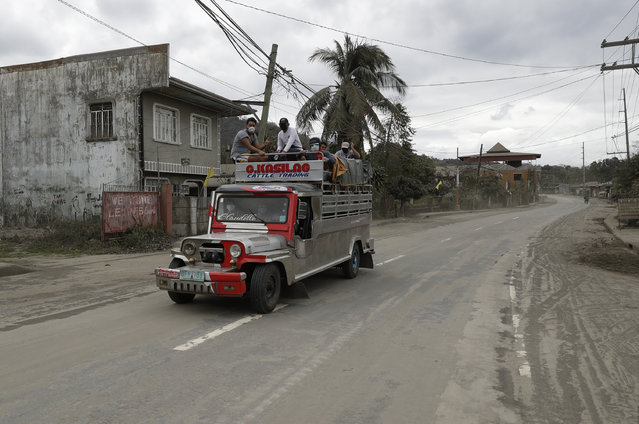 Residents ride a passenger jeep as they evacuate to safer grounds at a deserted village near Taal volcano in Talisay, Batangas province, southern Philippines on Friday January 17, 2020. (Photo by Aaron Favila/AP Photo)