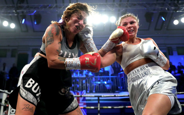 Shannon Courtenay exchanges punches with Buchra El Quaissi during the Bantamweight between Shannon Courtenay and Buchra El Quaissi at York Hall on December 19, 2019 in London, England. (Photo by James Chance/Getty Images)