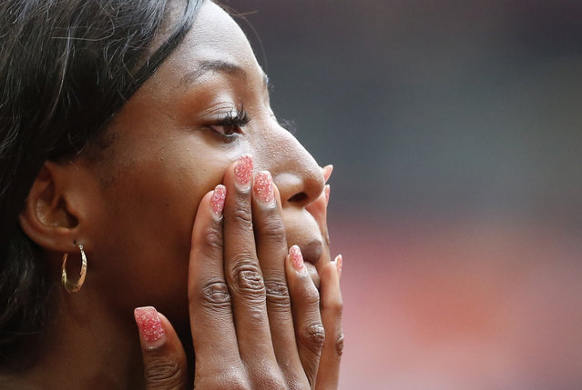 Shaunae Miller of Bahamas gestures before the women's 400 metres heats during the 15th IAAF World Championships at the National Stadium in Beijing, China August 24, 2015. (Photo by Lucy Nicholson/Reuters)