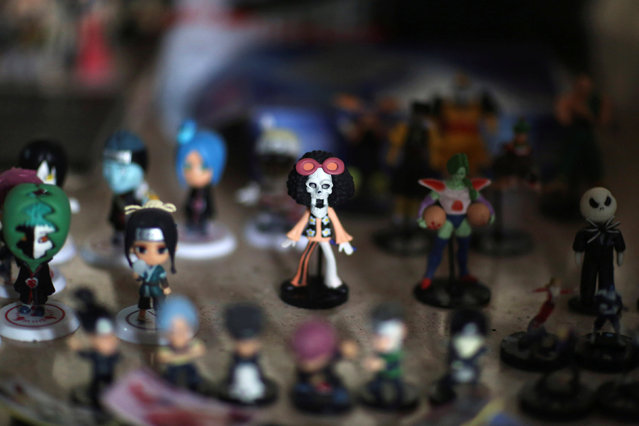 Toys are displayed for selling during the Cuban Otaku festival at a cinema in Havana, Cuba, July 24, 2016. (Photo by Alexandre Meneghini/Reuters)