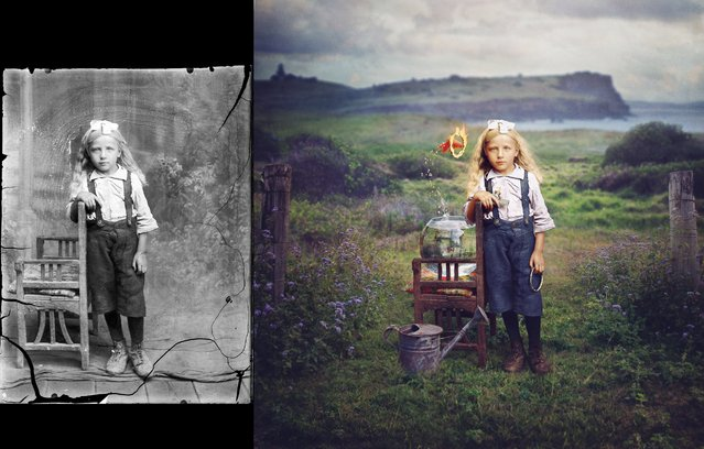 "The Costica photo on the left inspired Australia-based photographer Jane Long to create her version, titled ""Innocence"". (Photo by Costica Acsinte Archive/Jane Long)"