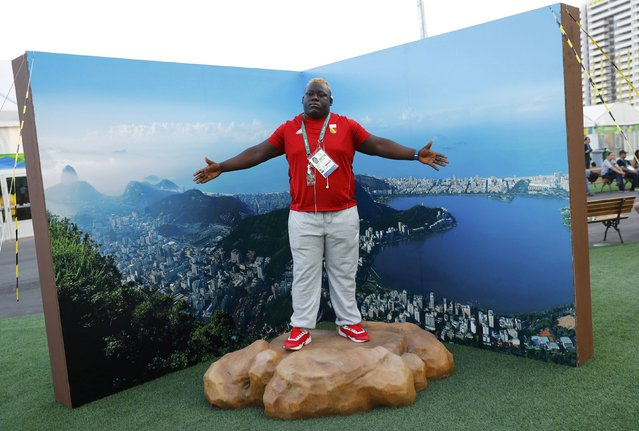 Deo Gracia Ngokaba (CGO) of Congo poses during their welcoming ceremony at the Olympic Village in Rio de Janeiro, Brazil August 1, 2016. (Photo by Kai Pfaffenbach/Reuters)