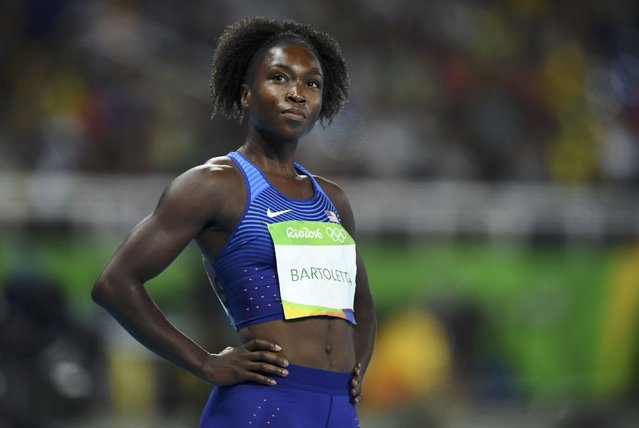 2016 Rio Olympics, Athletics, Preliminary, Women's 100m Round 1, Olympic Stadium, Rio de Janeiro, Brazil on August 12, 2016. Tianna Bartoletta (USA) of USA after finishing. (Photo by Dylan Martinez/Reuters)