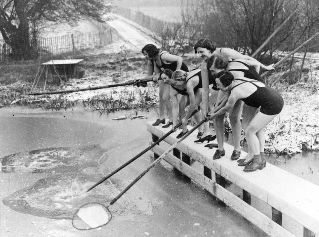 Regulars of the women's pond at Kenwood on Hampstead Heath, London are underterred by the ice. 22nd December 1935. (Photo by E. Dean/Topical Press Agency)