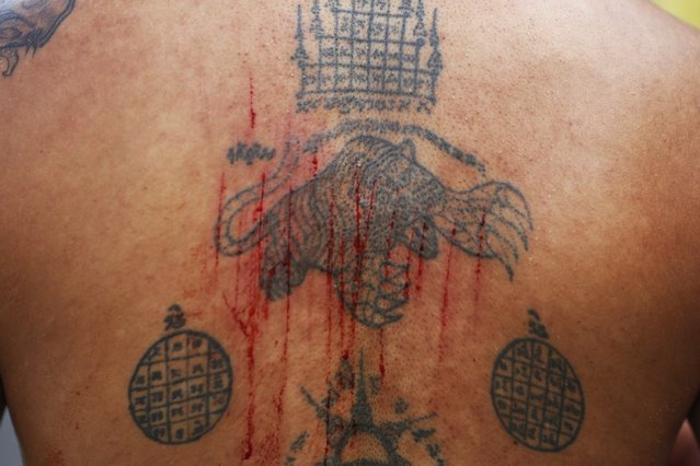 Cuts made by an axe are seen on the tattooed back of a devotee of the Chinese Bang Neow Shrine, taking part in a procession celebrating the annual vegetarian festival in Phuket September 29, 2014. (Photo by Damir Sagolj/Reuters)