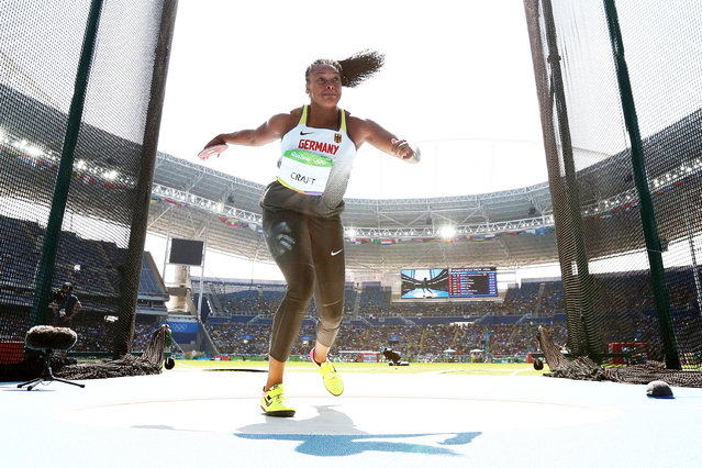 Shanice Craft of Germany competes during the Women's Discus Throw Final on Day 11 of the Rio 2016 Olympic Games at the Olympic Stadium on August 16, 2016 in Rio de Janeiro, Brazil. (Photo by Ian Walton/Getty Images)