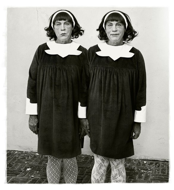 "John Malkovich is seen in a re-creation of Diane Arbus' photograph of identical twins, which was originally taken in Roselle, N.J., 1967. The image by Diane Arbus is one that stands out to Sandro, as the research was extensive and it's the only image with two people in the frame. ""It was truly amazing to watch John morph from one to the other within seconds"", Miller says. (Photo by Sandro Miller/Catherine Edelman Gallery)"