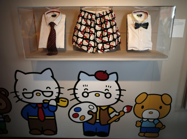 """Hello Kitty boxer shorts and ties are displayed at the """"Hello! Exploring the Supercute World of Hello Kitty"""" museum exhibit in honor of Hello Kitty's 40th anniversary, at the Japanese American National Museum in Los Angeles, California October 10, 2014. (Photo by Lucy Nicholson/Reuters)"""