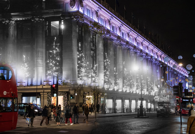 Archive: Selfridges Department Store on Oxford Street is lit up by Christmas decorations on December 6, 1935 in London, England. (Photo by David Savill/Topical Press Agency/Getty Images) Modern Day: Selfridges department store is lit up for the Festive season on November 23, 2017 in London, England. (Photo by Chris J. Ratcliffe/Getty Images)