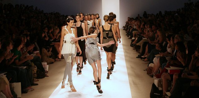 A model trips on the runway during Sass & Bide's Spring Collections 2007 fashion show in New York September 9, 2006. (Photo by Eduardo Munoz/Reuters)