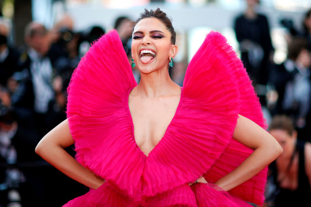 """Indian actress Deepika Padukone arrives on May 11, 2018 for the screening of the film """"Ash is Purest White (Jiang hu er nv)"""" at the 71st edition of the Cannes Film Festival in Cannes, southern France. (Photo by Stephane Mahe/Reuters)"""