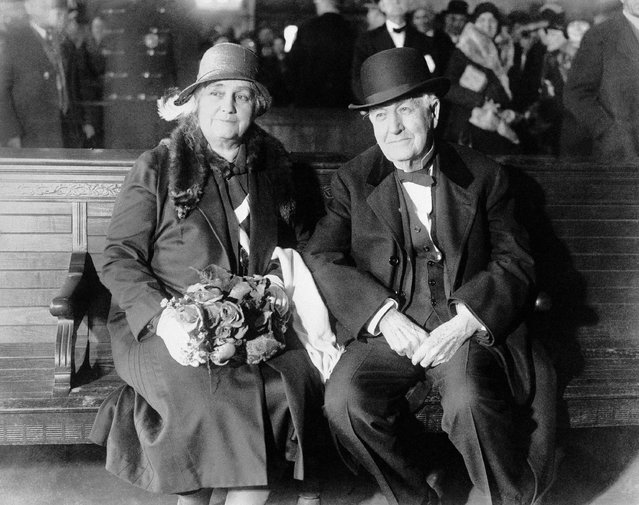 Thomas A. Edison and Mrs. Mina Miller Edison in the market street station, Newark, N.J., on January 20, 1931 when they left for Ft. Myers, Fla. the inventor's winter home. They were accompanied by Mrs. Edison's sister, Mrs. W.W. Nichols. Edison said he was tired, and that he planned to rest in Florida before continuing his experiments to obtain a rubber substitute from plants. The party traveled in the private car of Harvey firestone. The tire manufacturer is a close friend of the Edison. (Photo by AP Photo)