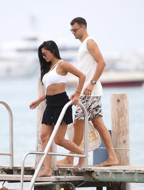 Nicole Scherzinger and boyfriend Grigor Dimitrov in St tropez, France on July 22 , 2018. (Photo by KCS Presse/The Mega Agency)