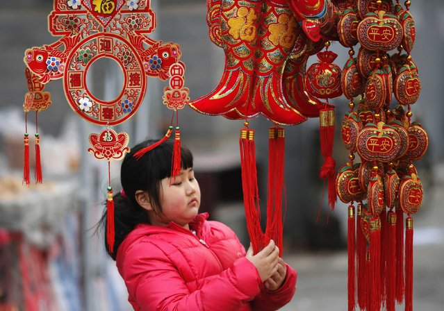 A girl looks at traditional decorations for the upcoming Chinese Lunar New Year celebrations at a market in Beijing February 6, 2015. The Chinese Lunar New Year on February 19 will welcome the Year of the Sheep (also known as the Year of the Goat or Ram). (Photo by Kim Kyung-Hoon/Reuters)