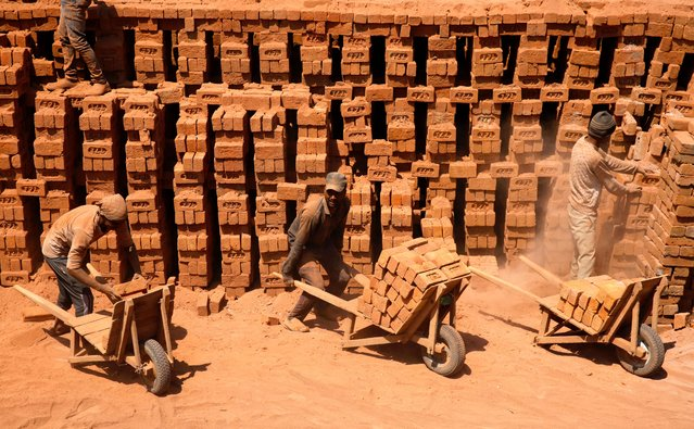 Non-Kashmiri laborers load bricks in handcarts inside a brick kiln in central Kashmir's Budgam district, some 25 kilometers from Srinagar, the summer capital of Indian Kashmir, 31 July 2018. The sector employes nearly 100,000 laborers, mostly non-Kashmiris from mainland India, to work in the kilns. (Photo by Farooq Khan/EPA/EFE)