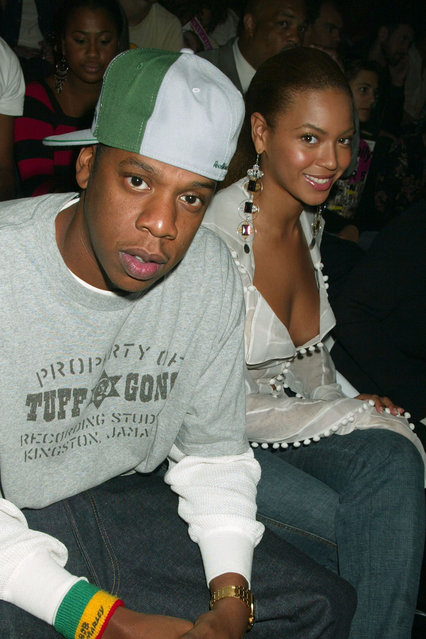Jay Z and Beyonce Knowles during Mercedes-Benz Fashion Week Spring 2004 – Rosa Cha – Front Row and Backstage at Gertrude Tent, Bryant Park in New York City, New York, United States. (Photo by Gregory Pace/FilmMagic)
