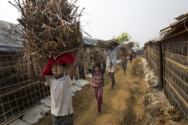 In this Monday, Januaey 15, 2018, file photo, a Rohingya family carry firewood on their head as they walk towards their tent at Balukhali refugee camp 50 kilometers (32 miles) from Cox's Bazar, Bangladesh. Bangladesh officials say they have agreed with Myanmar that they will try to complete the repatriation of Rohingya Muslim refugees who fled from violence in Myanmar within two years. (Photo by Manish Swarup/AP Photo)