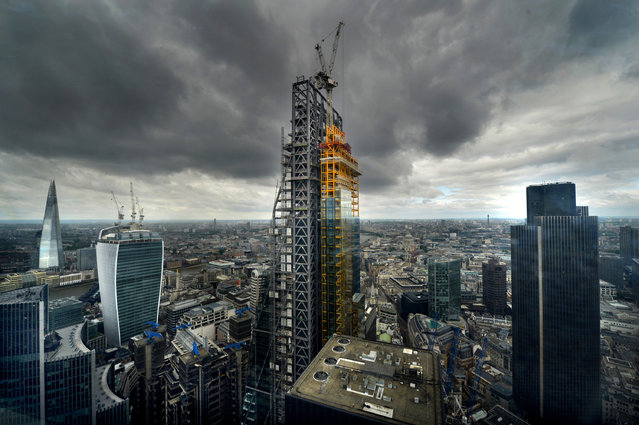 """Finalist – Anthony Devlin. General view of construction of the Leadenhall Building (centre) with the Shard Building (left) 20 Fenchurch Street, or the """"Walkie-Talkie"""" building (second left) and Tower 42 (right), London, on June 23, 2013. (Photo by Anthony Devlin/PA Wire)"""