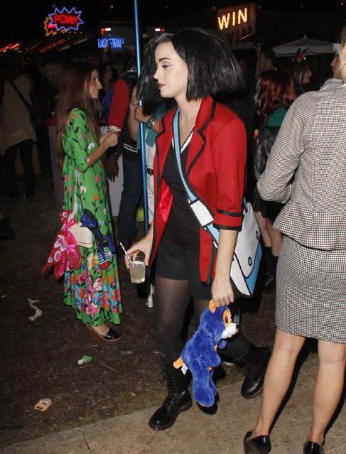 Celebrities attend a Halloween costume party at the Hollywood Forever Cemetery on October 31, 2012 in Hollywood, California. Here: Katy Perry. (Photo by FameFlynet)