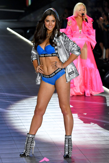 Maia Cotton walks the runway during the 2018 Victoria's Secret Fashion Show at Pier 94 on November 8, 2018 in New York City. (Photo by Kevin Mazur/WireImage)